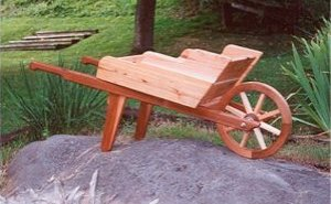 wooden wheelbarrow planter plans